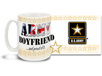 Show your pride in your United States Army Girlfriend with this colorful Army Boyfriend and Proud of It coffee mug. U.S. Army mug also makes a great gift for your special man! 15 oz Army Boyfriend Coffee Mug is dishwasher and microwave safe.