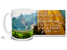 "Put on your Sunday best every day with this beautiful Christian Inspiration coffee mug featuring the popular passage from John 8:12 ""I am the Light of the World and He who Follows Me shall Not Walk in Darkness but have the Light of Life"". 15 oz John 8:12 Inspirational Coffee Mug features colorful rural scene and is dishwasher and microwave safe."
