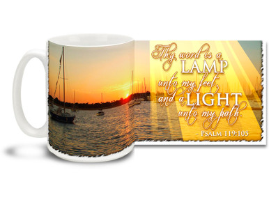 "Get out there and Let Your Light Shine with this beautiful Christian Inspiration coffee mug featuring the popular passage from Psalm 119:105 ""Thy word is a Lamp unto my feet, and a Light unto my path"". 15 oz Psalm 119:105 Inspirational Coffee Mug features beautiful sunset with sailboats and is dishwasher and microwave safe."