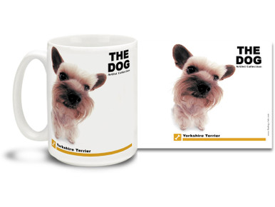 """Get up close and personal with your favorite dog breeds with """"The Dog"""" mug featuring the popular Yorkshire Terrier! Yorkshire Terrier lovers know these pretty canines are a little fussy and spoiled, but very protective, curious and loving . Colorful 15oz The Dog Yorkshire Terrier coffee mug is dishwasher and microwave safe."""