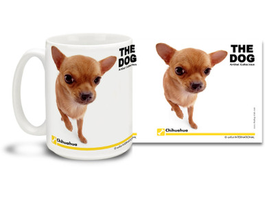 "Get up close and personal with your favorite dog breeds with ""The Dog"" mug featuring the popular Chihuahua! Chihuahua lovers know these clever canines are fiercely loyal and enjoy burrowing about whatever laundry piles and other household wilds they can explore. Colorful 15oz The Dog Chihuahua coffee mug is dishwasher and microwave safe."