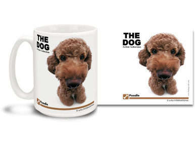 "Get up close and personal with your favorite dog breeds with ""The Dog"" mug featuring the popular Poodle! Poodle lovers know these pups with personality are energetic mischief-makers. Colorful 15oz The Dog Poodle coffee mug is dishwasher and microwave safe."