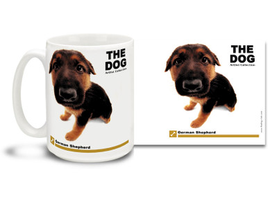 "Get up close and personal with your favorite dog breeds with ""The Dog"" mug featuring the popular German Shepherd! German Shepherd lovers know these handsome canines are loyal, eager learners and hard workers. Colorful 15oz The Dog German Shepherd coffee mug is dishwasher and microwave safe."