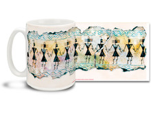 Dancing was an important part of life for the Hohokam Indians of the Tucson Basin. Join in the dance with with this vivid Hohokam Dancers coffee mug. Rich colors on this Hohokam Dancers Coffee Mug is sure to make this dishwasher and microwave safe cup a favorite!