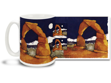 The delicate sandstone arches in the American Southwest are impressive and awe-inspiring and you can enjoy their beauty on this Native American themed coffee mug. Vivid contrasting colors on this Delicate Arch Southwest themed Coffee Mug is sure to make this dishwasher and microwave safe cup a favorite!