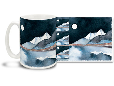 Enjoy the special magic of a Southwestern desert night on this Native American themed coffee mug. Deep, dark blues on this Crystal Night Southwestern Coffee Mug is sure to make this dishwasher and microwave safe cup a favorite!