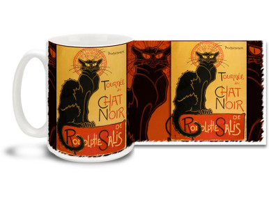 "Le Chat Noir was a nineteenth-century entertainment establishment, in the bohemian Montmartre district of Paris. Thought of as the first modern cabaret, ""The Black Cat"" is now perhaps best known by this iconic poster advertising a tour of Le Chat Noir's troupe of entertainers to other cities. Sing a boisterous song with this Le Chat Noir coffee mug! Beautiful Théophile Steinlen Le Chat Noir Mug is dishwasher and microwave safe."