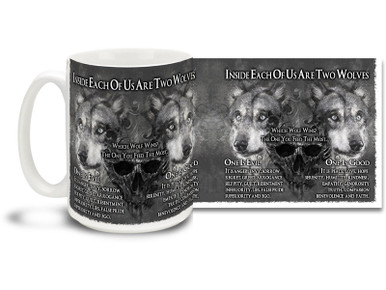 This powerful Wolf coffee mug speaks of the battle that goes inside of all of us! 15 oz Two Wolves Inside Us mug is emblazoned with a popular saying on the human internal conflict of good versus evil and is dishwasher and microwave safe.