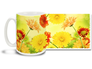 Enjoy some sunny themed mums on this pretty flower mug. Bright, vivid colors on this 15 oz Colorful Mum Flowers Coffee Mug will make this dishwasher and microwave safe coffee cup a great day morning favorite!