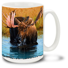 Young bull moose sheds his antler velvet in a cool refreshing stream on this colorful Moose Mug. 15oz Moose Coffee Mug is dishwasher and microwave safe.