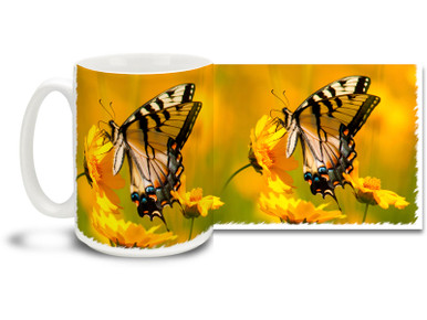 Enjoy the autumn colors and beautiful Eastern Tiger Swallowtail butterfly on this pretty flower mug. Bright, vivid colors on this 15 oz Eastern Tiger Swallowtail and Flowers Coffee Mug will make this dishwasher and microwave safe coffee cup a mellow morning favorite!
