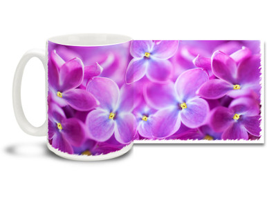 Explore the power of purple with the Lilac Flowers on this pretty flower mug. Bright, vivid colors on this 15 oz Lilac Flowers Coffee Mug will make this dishwasher and microwave safe coffee cup a relaxing coffee time favorite!