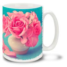 Pink Roses in Vase - 15 oz Mug