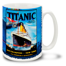 Titanic White Star Liner Travel Poster - 15 oz Coffee Mug
