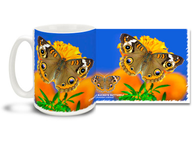 The common buckeye butterfly is a familiar North American butterfly and is especially common in the south and along the California coast. Featuring a bold pattern of eyespots and white bars on the upper wing surface, the buckeye has many flights throughout the year, with mostly northward migrations for the summer. Enjoy the feel of the great outdoors on this pretty Buckeye Butterfly mug. Bright, vivid colors on this 15 oz Buckeye Butterfly Coffee Mug will make this dishwasher and microwave safe coffee cup a coffee time favorite!