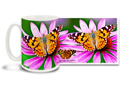 The Painted Lady is a well-known colorful butterfly, also known in North America as the Cosmopolitan. One of the most widespread of all butterflies, the Painted Lady is found on every continent except Antarctica and South America. Enjoy the feel of a sunny spring meadow on this pretty Painted Lady Butterfly mug. Bright, vivid colors on this 15 oz Painted Lady Butterfly Coffee Mug will make this dishwasher and microwave safe coffee cup a coffee time favorite!
