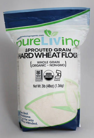 PureLiving Sprouted Hard Wheat Flour (3lb) / Organic, Kosher, Non-GMO, Whole Grain, Raw