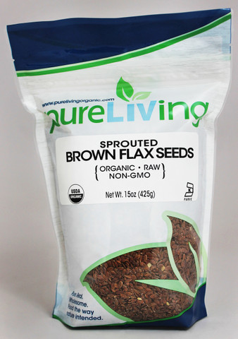 PureLiving Sprouted Brown Flax Seeds / Organic, Kosher, Non-GMO, Raw