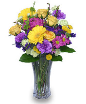 "8 1/2"" flared rose vase foliage: salal, leather leaf 4 yellow roses 2 yellow gerberas 2 stems fuchsia daisy poms 3 stems purple 'Sinuata' statice 3 stems apple-green mini carnations 4 purple 'Moonshade' carnations 2 stems yellow button poms"