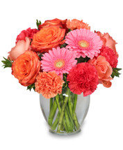 Ginger Jar Vase Foliage: Myrtle, Leather Leaf Coral Roses Peach Roses Hot Pink Carnations Orange Carnations Pink Gerberas