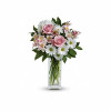 """Soft and delicate, this pale pink and white bouquet speaks to the purity and simplicity of your adoration. This angelic bouquet includes soft pink roses, light pink alstroemeria, white daisies and glossy green lemon leaf. Delivered in a Bunch vase. Approximately 14"""" W x 19"""" H"""