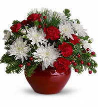"""2 stems carnations, miniature, red 2 stems chrysanthemums, cushion spray, white 1/2 branch noble fir 1/2 branch white pine 2 tips holly, variegated 1/4 stem berry spray, red 1/3 block floral foam 1 4 1/2"""" jardiniere, red, syndicate sales, no. 31-00-068, (4 1/2"""" h x 6"""" w)"""