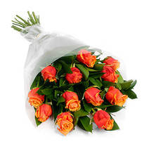Dozen Orange Roses with Greens