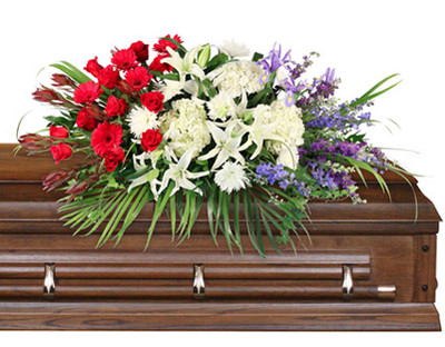 Casket Saddle w/ wet floral foam Foliage: Teepee, Ivy, Salal, Florida Ruscus 10 Red Roses 7 Safari Sunset leucadendron 5 red Gerberas 3 stems white Lilies 3 white Hydrangeas 6 white Spider Mums 7 stems purple Larkspur 5 purple Iris 7 stems blue Delphinium