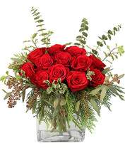 "8"" rectangular glass cedar mini pittosporum seeded eucalyptus baby eucalyptus 12 stems red roses"