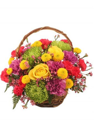 """6"""" round twiggy vine basket with handle and liner wet floral foam foliage: leather leaf 3 green Fuji spider mums 2 yellow roses 5 lavender carnations 2 stems yellow button poms 3 stems hot pink mini carnations 1 stem lavender waxflowers"""