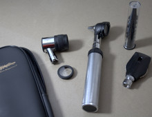 A complete Diagnostic Kit includes Otoscope, Opthalmoscope and Dermascope Heads with an interchangeable handle