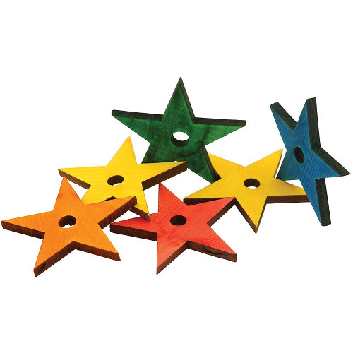 Coloured Wooden Stars - Parrot Toy Parts - Medium - Pack of 20