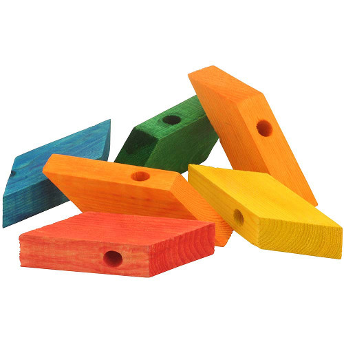 Coloured Wood Rhombus Blocks Parrot Toy Parts - Pack of 6
