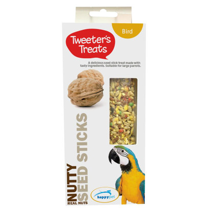 Tweeter's Treats Seed Sticks For Parrots - Nutty