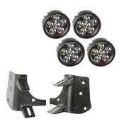 "Rugged Ridge, 11232.37 - Dual A-Pillar LED Kit, 3.5"" Round Lights; 97-06 Jeep Wrangler TJ/LJ"