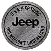IT'S A JEEP THING ROUND EMBOSSED TIN MAGNET