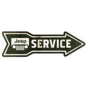 JEEP SERVICE ARROW EMBOSSED TIN SIGN