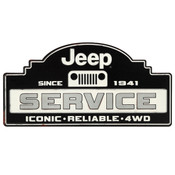 JEEP SERVICE EMBOSSED TIN SIGN