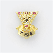 TKE Crown Pearl Sweetheart Badge with Ruby Points
