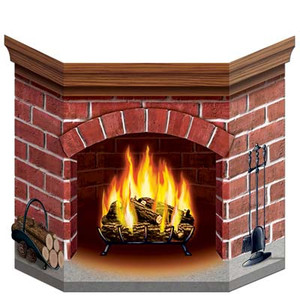Brick Fireplace Stand-Up Party Accessory
