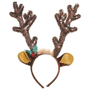 Brown Sequined Antler Headband