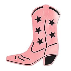 Foil Cowboy Boot Silhouette Pink