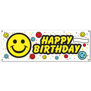 Birthday Smile Face Sign Banner Party Accessory