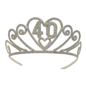 Glittered Metal 40 Tiara Party Accessory