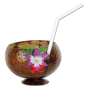Coconut Cup and Flower with Straw