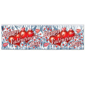 Flame Resistant Metallic Valentine's Day Fringe Banner