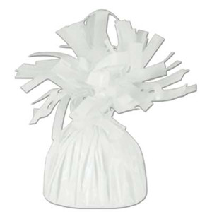 Metallic Wrapped Balloon Weight - White