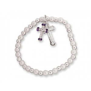 Children's - Pearls with Cross in Bible Box Bracelet