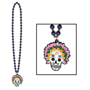 Beads with Day Of The Dead Medallion 36 Inch