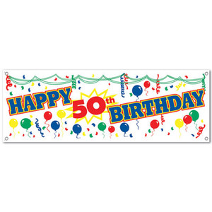 "Happy ""50th"" Birthday Sign Banner"